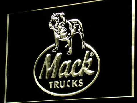 Image of Mack Old Logo LED Neon Sign - Yellow - SafeSpecial