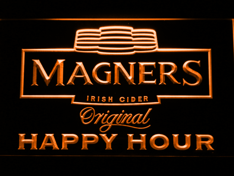 Magners Happy Hour LED Neon Sign - Orange - SafeSpecial