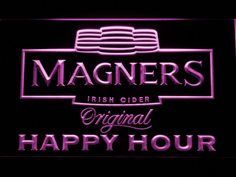 Magners Happy Hour LED Neon Sign - Purple - SafeSpecial