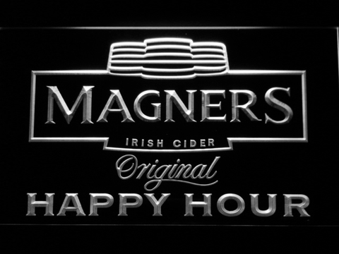 Image of Magners Happy Hour LED Neon Sign - White - SafeSpecial