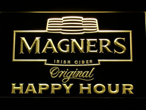 Magners Happy Hour LED Neon Sign - Yellow - SafeSpecial