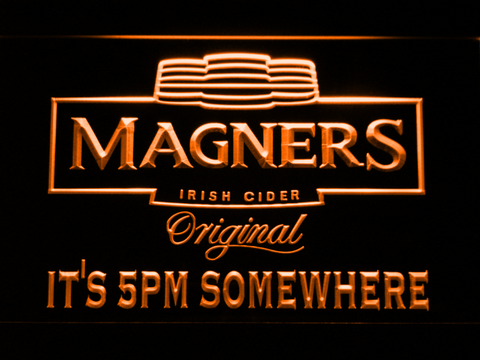 Magners It's 5pm Somewhere LED Neon Sign - Orange - SafeSpecial