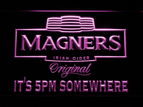 Magners It's 5pm Somewhere LED Neon Sign - Purple - SafeSpecial