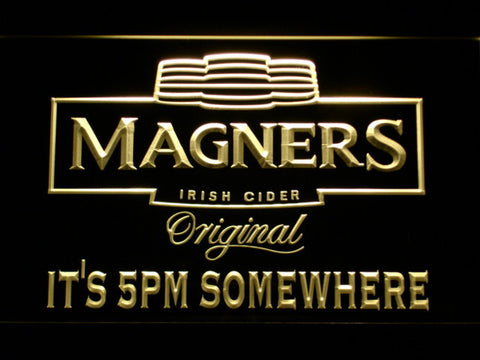 Image of Magners It's 5pm Somewhere LED Neon Sign - Yellow - SafeSpecial