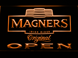 Magners Open LED Neon Sign - Orange - SafeSpecial