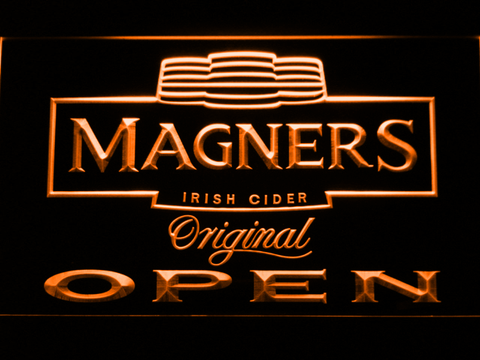 Image of Magners Open LED Neon Sign - Orange - SafeSpecial