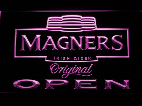 Magners Open LED Neon Sign - Purple - SafeSpecial