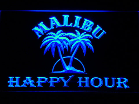 Malibu Happy Hour LED Neon Sign - Blue - SafeSpecial