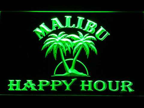 Malibu Happy Hour LED Neon Sign - Green - SafeSpecial