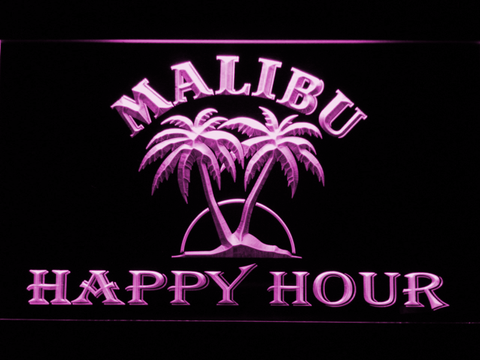 Malibu Happy Hour LED Neon Sign - Purple - SafeSpecial