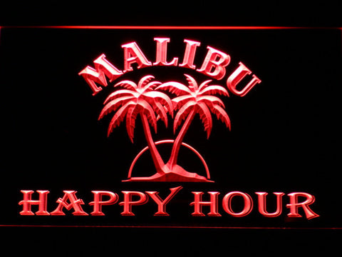 Malibu Happy Hour LED Neon Sign - Red - SafeSpecial