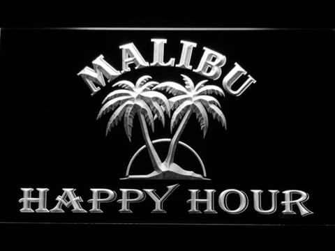 Malibu Happy Hour LED Neon Sign - White - SafeSpecial