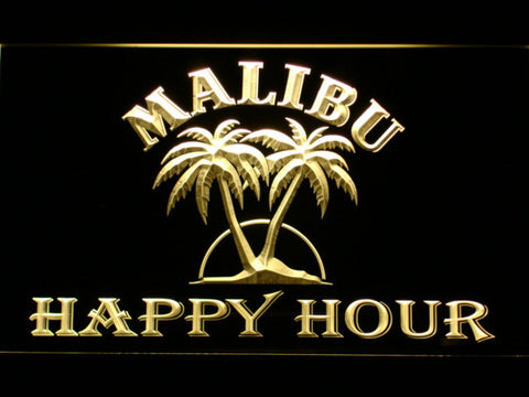 Malibu Happy Hour LED Neon Sign - Yellow - SafeSpecial
