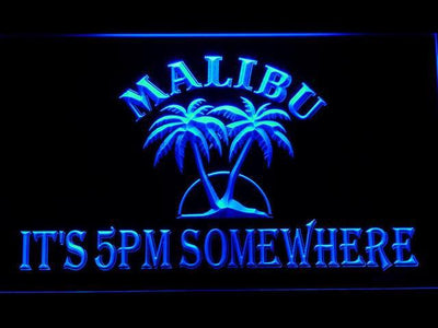 Malibu It's 5pm Somewhere LED Neon Sign - Blue - SafeSpecial