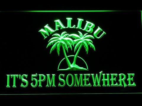 Image of Malibu It's 5pm Somewhere LED Neon Sign - Green - SafeSpecial