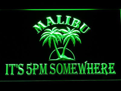 Malibu It's 5pm Somewhere LED Neon Sign - Green - SafeSpecial