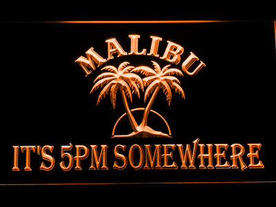 Malibu It's 5pm Somewhere LED Neon Sign - Orange - SafeSpecial
