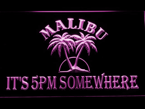 Image of Malibu It's 5pm Somewhere LED Neon Sign - Purple - SafeSpecial