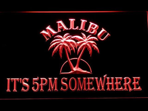 Image of Malibu It's 5pm Somewhere LED Neon Sign - Red - SafeSpecial