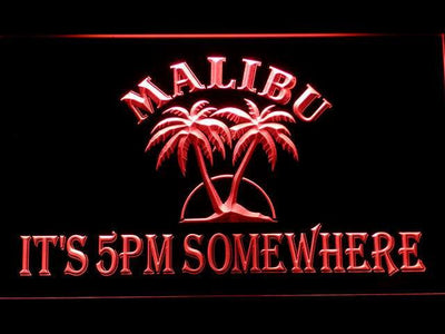Malibu It's 5pm Somewhere LED Neon Sign - Red - SafeSpecial
