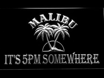 Malibu It's 5pm Somewhere LED Neon Sign - White - SafeSpecial