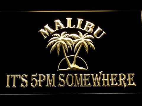 Image of Malibu It's 5pm Somewhere LED Neon Sign - Yellow - SafeSpecial