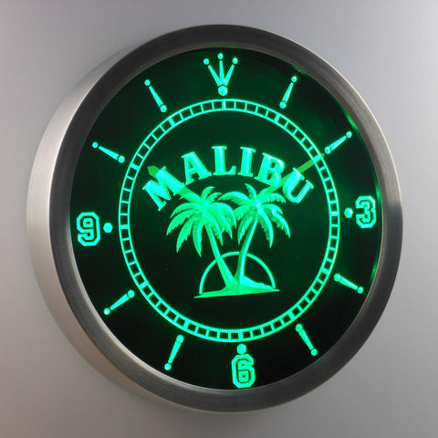 Malibu LED Neon Wall Clock - Green - SafeSpecial