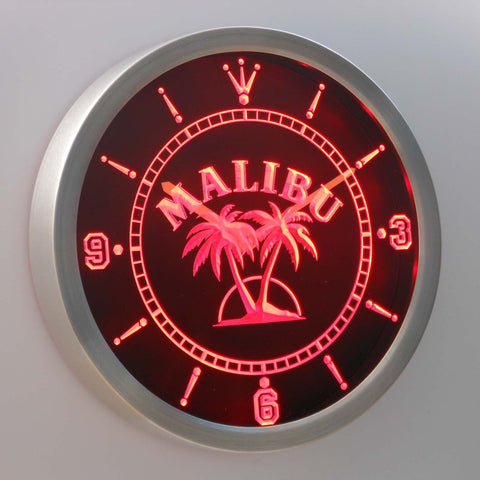 Malibu LED Neon Wall Clock - Red - SafeSpecial