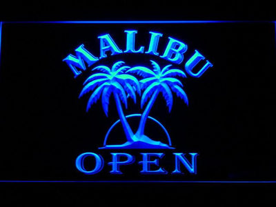 Malibu Open LED Neon Sign - Blue - SafeSpecial