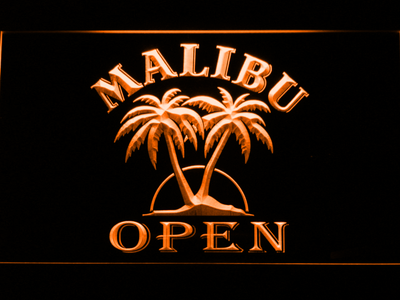Malibu Open LED Neon Sign - Orange - SafeSpecial