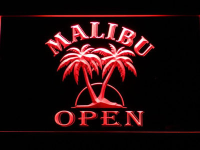 Malibu Open LED Neon Sign - Red - SafeSpecial