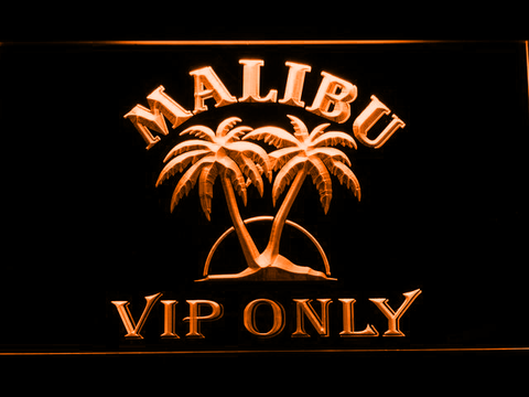 Malibu VIP Only LED Neon Sign - Orange - SafeSpecial