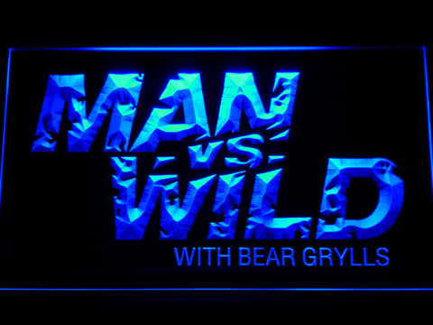 Image of Man vs Wild with Bear Grylls LED Neon Sign - Blue - SafeSpecial