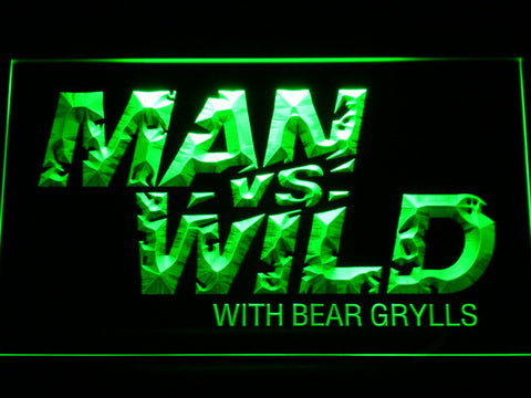 Image of Man vs Wild with Bear Grylls LED Neon Sign - Green - SafeSpecial
