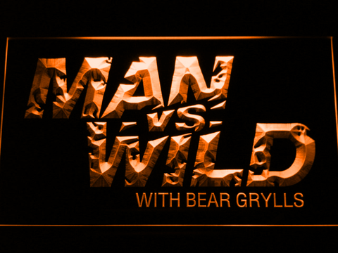 Image of Man vs Wild with Bear Grylls LED Neon Sign - Orange - SafeSpecial