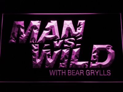 Man vs Wild with Bear Grylls LED Neon Sign - Purple - SafeSpecial