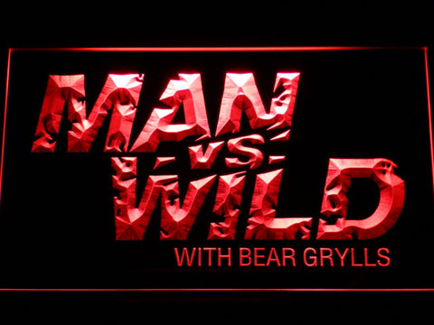 Image of Man vs Wild with Bear Grylls LED Neon Sign - Red - SafeSpecial
