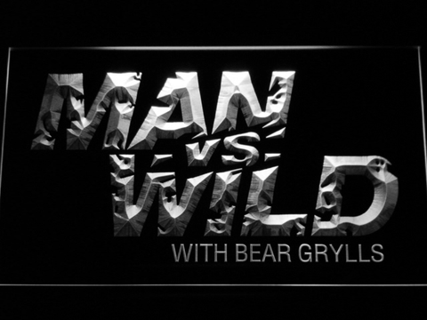 Image of Man vs Wild with Bear Grylls LED Neon Sign - White - SafeSpecial
