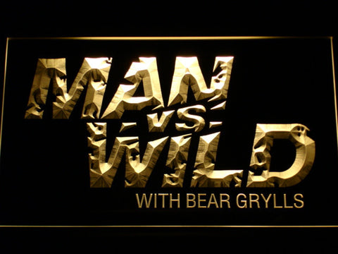 Image of Man vs Wild with Bear Grylls LED Neon Sign - Yellow - SafeSpecial