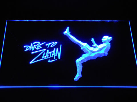 Image of Manchester United Football Club Dare To Zlatan LED Neon Sign - Blue - SafeSpecial