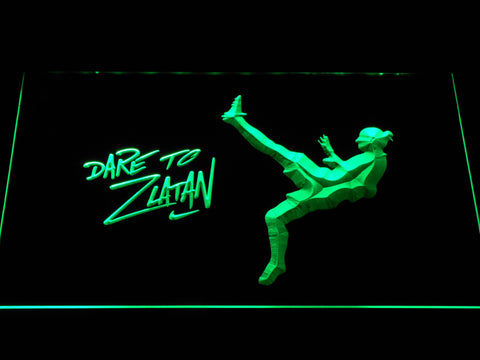 Image of Manchester United Football Club Dare To Zlatan LED Neon Sign - Green - SafeSpecial