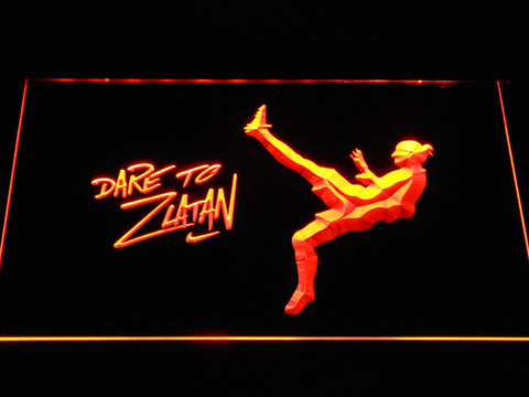 Image of Manchester United Football Club Dare To Zlatan LED Neon Sign - Orange - SafeSpecial