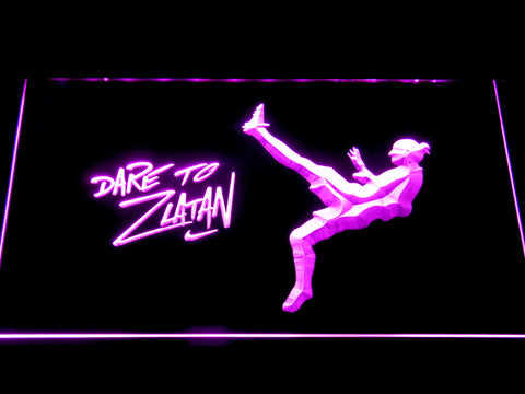 Image of Manchester United Football Club Dare To Zlatan LED Neon Sign - Purple - SafeSpecial
