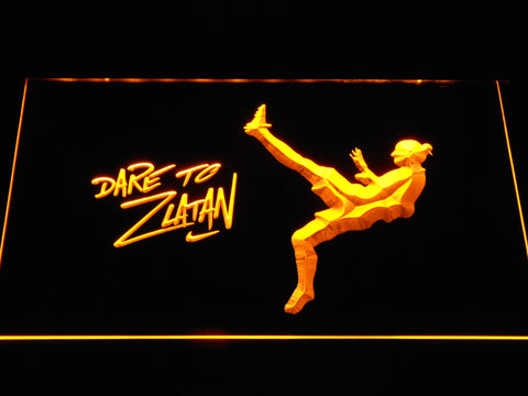 Image of Manchester United Football Club Dare To Zlatan LED Neon Sign - Yellow - SafeSpecial