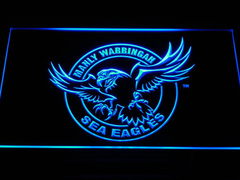 Manly Warringah Sea Eagles LED Neon Sign - Blue - SafeSpecial