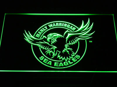 Manly Warringah Sea Eagles LED Neon Sign - Green - SafeSpecial