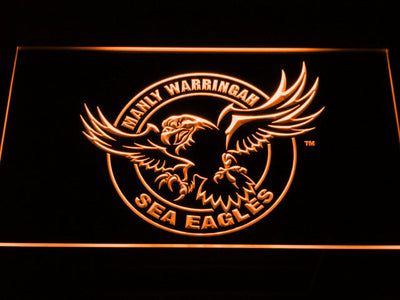 Manly Warringah Sea Eagles LED Neon Sign - Orange - SafeSpecial