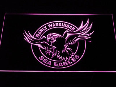 Manly Warringah Sea Eagles LED Neon Sign - Purple - SafeSpecial