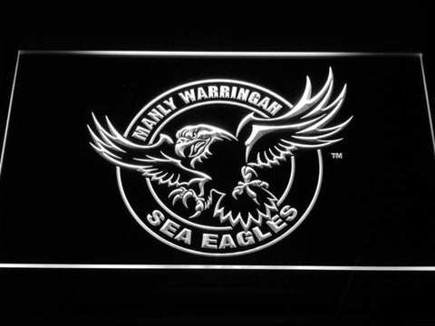 Manly Warringah Sea Eagles LED Neon Sign - White - SafeSpecial