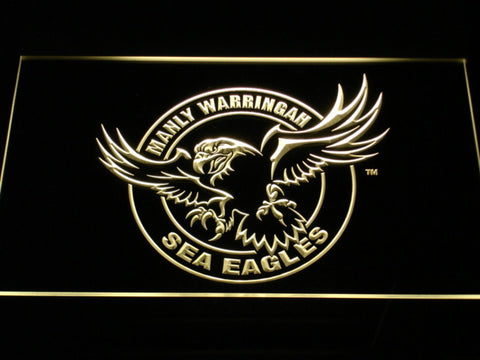 Image of Manly Warringah Sea Eagles LED Neon Sign - Yellow - SafeSpecial